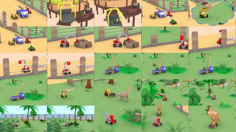 侏罗纪世界 - 和迷你卡车学习 Learn with Tiny Trucks 👶幼儿早教卡通: Chinese Madarin Educational Cartoons for Kids